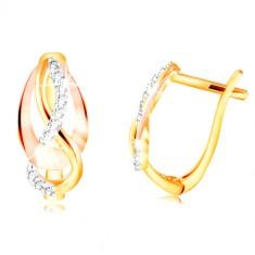 Zlaté 14K náušnice - trojfarebné prepletené línie, ligotavé zirkóny čírej farby