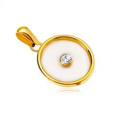 Prívesok v žltom 14K zlate - kruh s výplňou z perlete a čírym zirkónom v strede