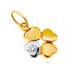 Prívesok v 14K zlate - dvojfarebný štvorlístok pre šťastie, číry zirkón