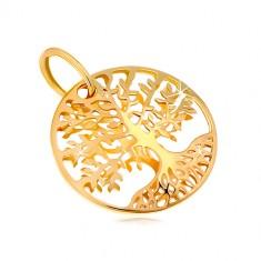 Prívesok zo žltého zlata 585 - kruh s vyrezávaným stromom života