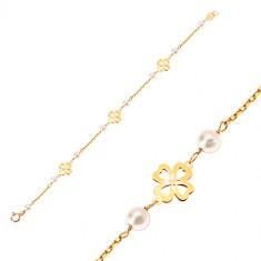 02f733621 Náramok zo žltého 14K zlata - biele guľaté perličky a štvorlístky pre  šťastie