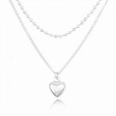 Strieborný 925 náhrdelník, dvojitá retiazka, vypuklé srdiečko a drobné guľôčky
