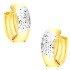 Okrúhle náušnice z kombinovaného 14K zlata - výplet v bielom zlate