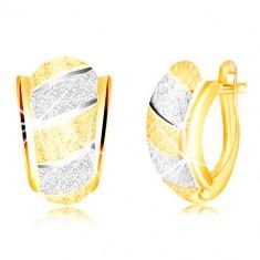 Ligotavé náušnice v zlate 585 - asymetrický oblúk, pásy, pieskovaný povrch