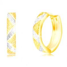 Náušnice zo zlata 585 - cik-cakovité pásy a línie v bielom zlate, pieskovaný povrch