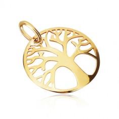 Prívesok zo žltého zlata 375 - ozdobne vyrezávaný kruh, strom života