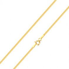 Jemná retiazka zo žltého 14K zlata, línia šikmo napájaných očiek, 500 mm