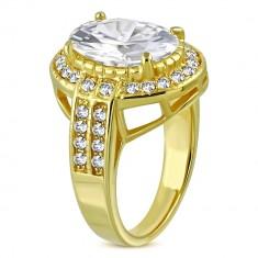 50c8162cc Oceľový prsteň v zlatom farebnom odtieni - oválny zirkón v kotlíku, drobné  zirkóny