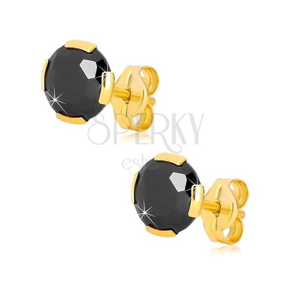 f7b70415d ... Náušnice v žltom zlate 375 - brúsený okrúhly zirkón čiernej farby, 6 mm  ...