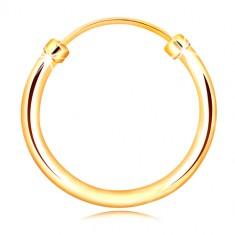 Piercing do nosa alebo ucha zo žltého zlata 375 - úzky krúžok, lesklý a hladký povrch