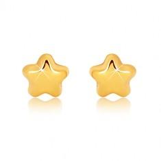 Náušnice v žltom 9K zlate - zrkadlovolesklá hviezdička s piatimi cípmi, puzetky