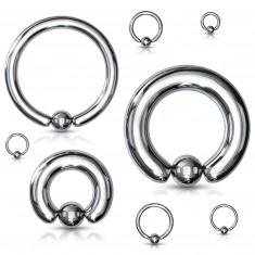 Piercing z ocele 316L - jednoduchý krúžok s guľočkou, strieborná farba, hrúbka 4 mm
