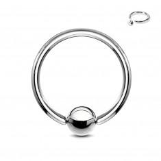 Piercing striebornej farby z chirurgickej ocele - krúžok s guličkou, hrúbka 2 mm