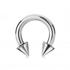 Piercing z ocele 316L - lesklá podkova s hrotmi, strieborná farba, hrúbka 4 mm