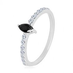 Strieborný 925 prsteň - úzke ramená, zirkónové zrnko čiernej farby, číre zirkóniky