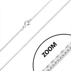 Strieborná retiazka 925 - lesklé hranaté články, štvorcový prierez, 1,2 mm