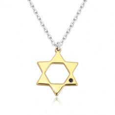 Strieborný 925 náhrdelník - Dávidova hviezda v zlatom odtieni, čierny diamant