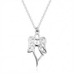 Strieborný náhrdelník 925 - vyrezávaný anjel, srdce s čírym diamantom