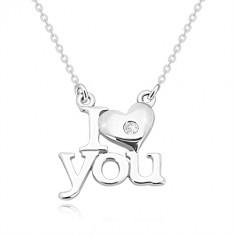 """Briliantový náhrdelník zo striebra 925, """"I heart you"""", retiazka z oválnych očiek"""
