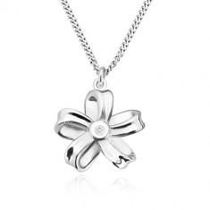 Strieborný náhrdelník 925 - lesklá stuha, kvet s piatimi lupeňmi a briliantom
