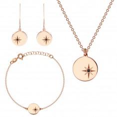 Strieborný trojset 925 ružovozlatej farby - severná hviezda, čierny diamant