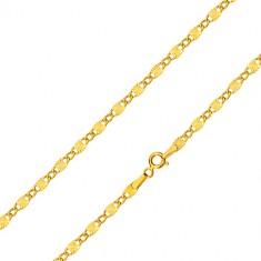 Retiazka v žltom zlate 585 - oválne očká, podlhovasté články s lúčovitými zárezmi, 550 mm