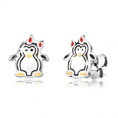 Strieborné náušnice 925 - lesklý tučniak s mašličkou, trojfarebná glazúra