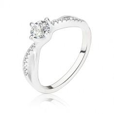 Zásnubný prsteň, striebro 925, zvlnené prepletené ramená, číry zirkón