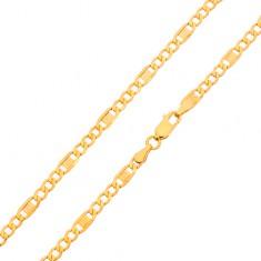 Zlatá retiazka 585 - tri oválne očká, článok s gréckym kľúčom, 600 mm