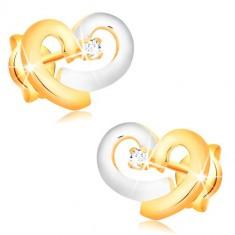 Náušnice zo 14K kombinovaného zlata - srdce zo žltého a bieleho zlata, číry zirkón