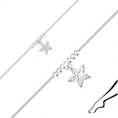 Strieborný náramok 925 na nohu - hviezdička so zirkónmi, lesklé guľôčky, hranatá retiazka