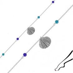Náramok zo striebra 925 na členok - morská mušľa, štyri modré guľôčky
