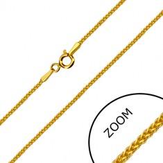 Hranatá retiazka v žltom 14K zlate - husto prepletené očká, perový krúžok, 500 mm