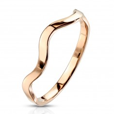 Prsteň z ocele v medenej farbe - motív vlnky, úzke lesklé ramená