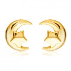 Puzetové zlaté náušnice 585 - mesiačik a päťcípa hviezdička