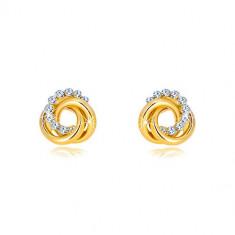Náušnice z 9K zlata so zirkónmi - tri prepletané prstence