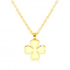 Náhrdelník zo žltého zlata 585 - štvorlístok so srdcovými listami, symbol šťastia