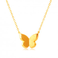 Náhrdelník v žltom zlate 585 - motýlik so saténovým povrchom