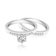 Dvojset strieborných prsteňov 925 - trblietavá línia zirkónov, väčší okrúhly zirkón