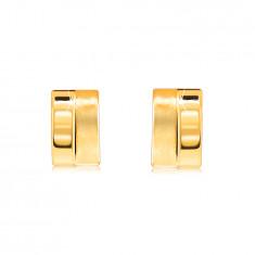 Náušnice zo zlata 585 - oblúčik rozdelený na polovicu, lesklý a matný povrch