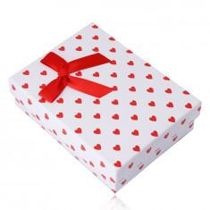 Darčeková krabička na retiazku alebo set - červené srdiečka, biely podklad
