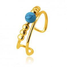 Piercing do ucha zo 14K zlata - gulička z prírodného tyrkysu, tenké ramená