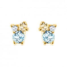 Náušnice zo 14K zlata - kamienky v rôznych veľkostiach, citrín, modrý a švajčiarsky topás