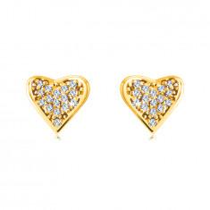 Zlaté 14K náušnice - srdcia vykladané drobnými okrúhlymi zirkónmi, úchyty v tvare bodiek