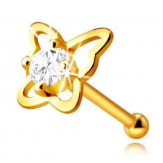 Zlatý piercing do nosa zo 14K zlata - kontúra motýľa s okrúhlym zirkónom čírej farby, 2,25 mm