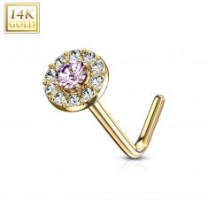 Zahnutý piercing do nosa zo 14K zlata - ružový zirkón lemovaný čírymi zirkónikmi
