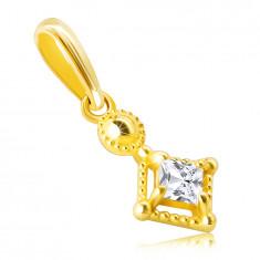 Prívesok zo 14K zlata - drobný trblietavý štvorcový zirkón v ozdobnej objímke