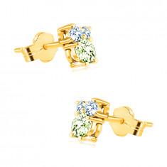 Náušnice zo 14K zlata - kamienky v rôznych veľkostiach, olivín, modrý topás