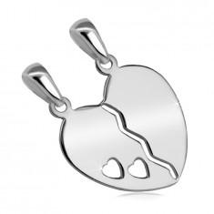 Strieborný 925 dvojprívesok - rozpolené srdce s výrezom dvoch malých srdiečok