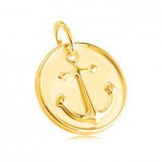 Prívesok zo žltého 585 zlata - okrúhla známka, motív námorníckej kotvy